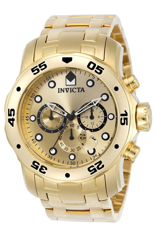 Invicta Pro Diver Quartz Watch - Gold case with Gold tone Stainless Steel band - Model 0074