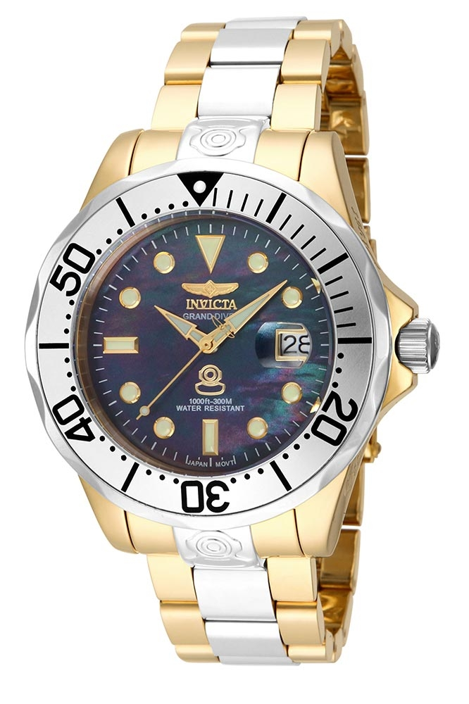 Invicta Pro Diver Automatic Watch - Gold, Stainless Steel case with Steel, Gold tone Stainless Steel band - Model 16034