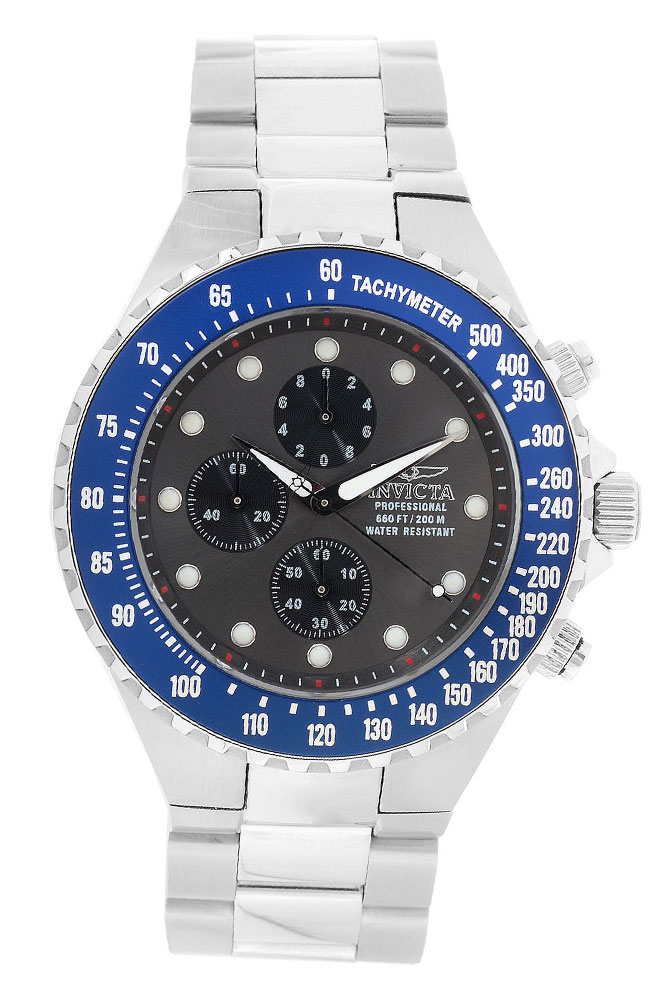 Invicta Pro Diver Mens Quartz 47mm Stainless Steel Case Charcoal, Black Dial - Model 23996