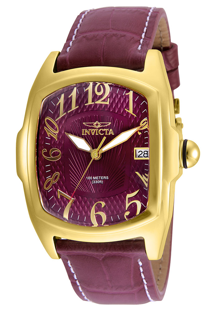 invicta lupah mens automatic 43mm gold case burgundy dial