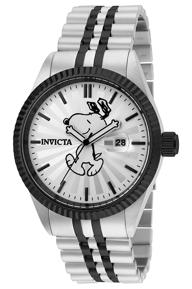 Invicta snoopy character collection mens quartz 43mm stainless steel black case silver dial for Snoopy watches
