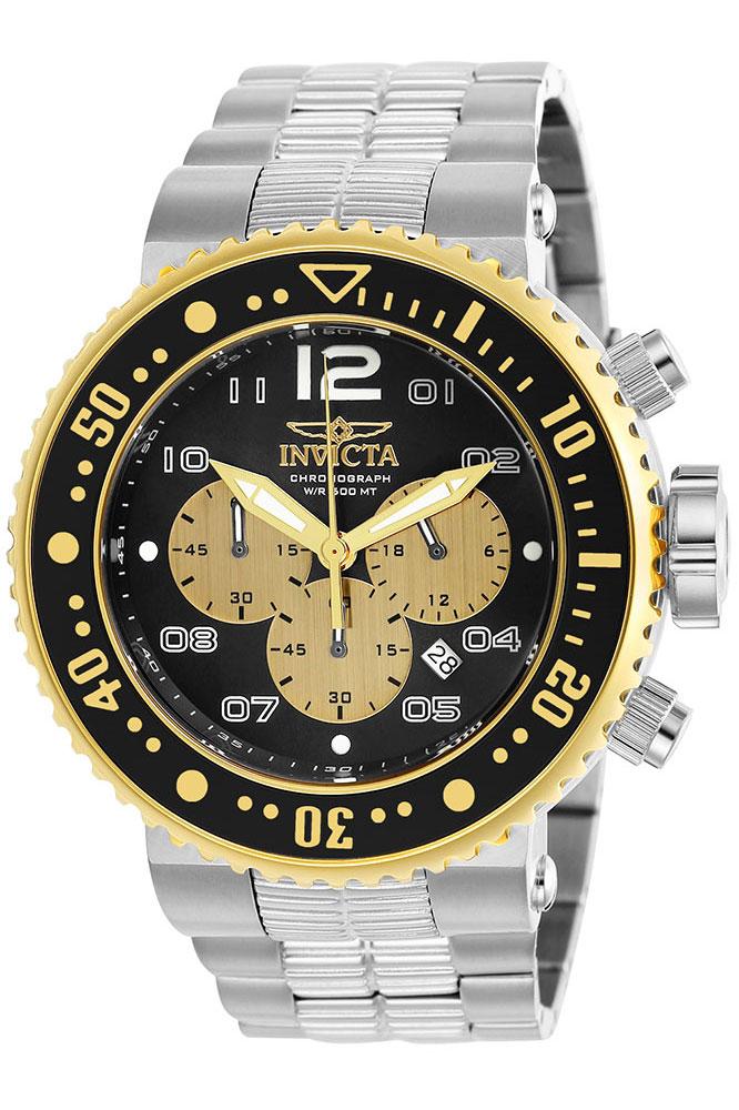 Invicta Pro Diver Mens Quartz 52mm Stainless Steel, Gold Case Black, Gold Dial - Model 25075