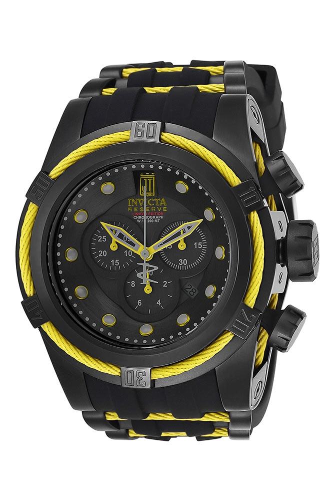 Invicta Jason Taylor Mens Quartz 53mm Black, Yellow Case Black Dial - Model 25232
