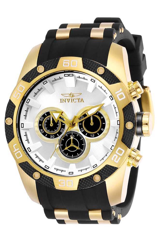 Invicta Speedway SCUBA Mens Quartz 48mm Gold Case Silver Dial - Model 25834
