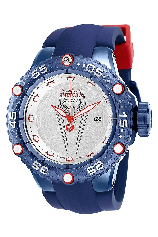 Vintage Watches For Sale >> Invicta Marvel Limited Edition Spiderman Mens Automatic 51.2mm Stainless Steel, Dark Blue Case ...