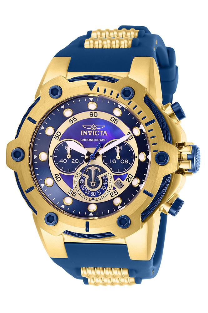 Invicta Bolt Mens Quartz 51.5mm Gold Case Blue Dial - Model 26816