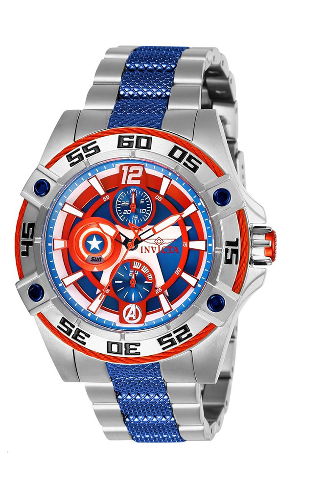 Invicta Marvel Limited Edition Captain America Womens Quartz 43.5 mm Stainless Steel Case Blue Dial - Model 27018