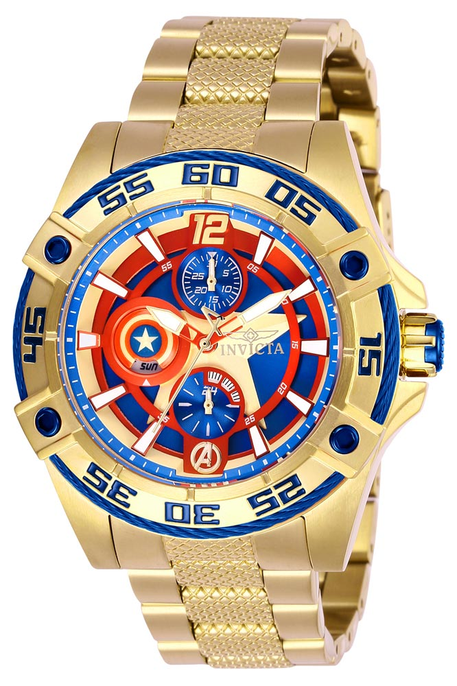 Invicta Marvel Limited Edition Captain America Womens Quartz 43.5 mm Gold Case Blue Dial - Model 27019