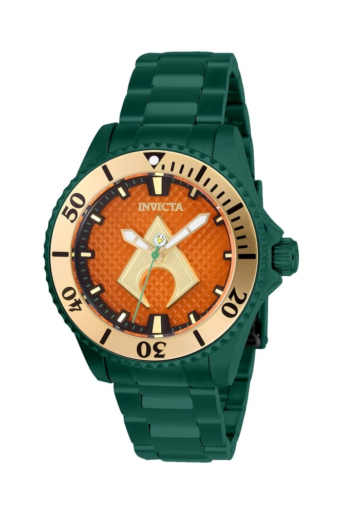 Invicta DC Comics Limited Edition Aquaman Womens Automatic 38mm Green Case Orange Dial - Model 27140