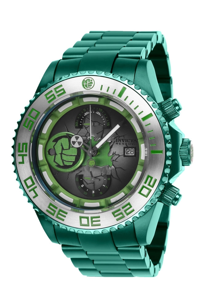 Invicta Marvel Limited Edition Hulk Mens Automatic 47 mm Green, Stainless Steel Case Green, Silver Dial - Model 27162