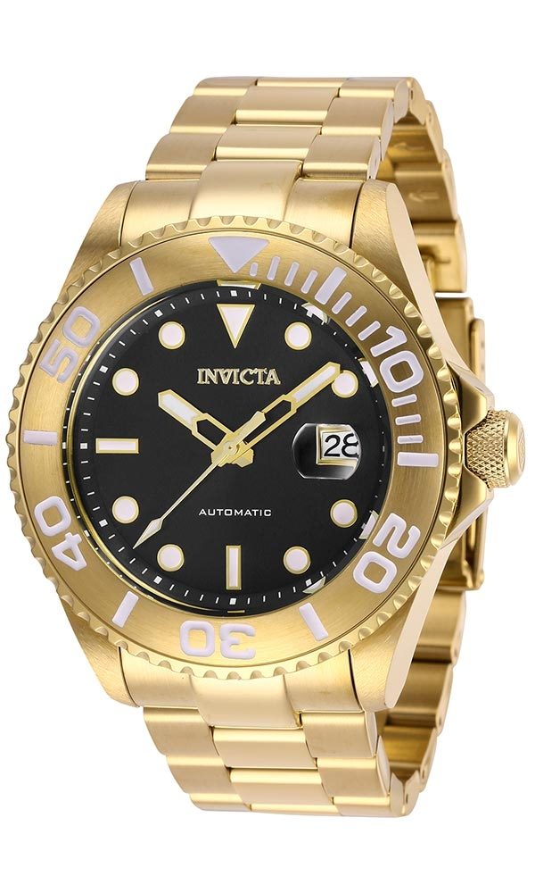 Invicta Pro Diver Mens Automatic 47 mm Gold Case Black Dial - Model 27306