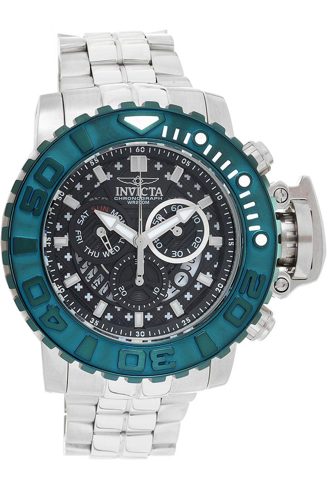 Vintage Watches For Sale >> Invicta Sea Hunter Mens Quartz 58 mm Stainless Steel, Green Case Black Dial - Model 27369