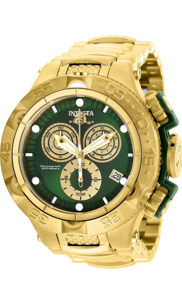 Invicta Subaqua Noma V Mens Quartz 50 mm Gold, Green Case Green, Gold Dial - Model 27675