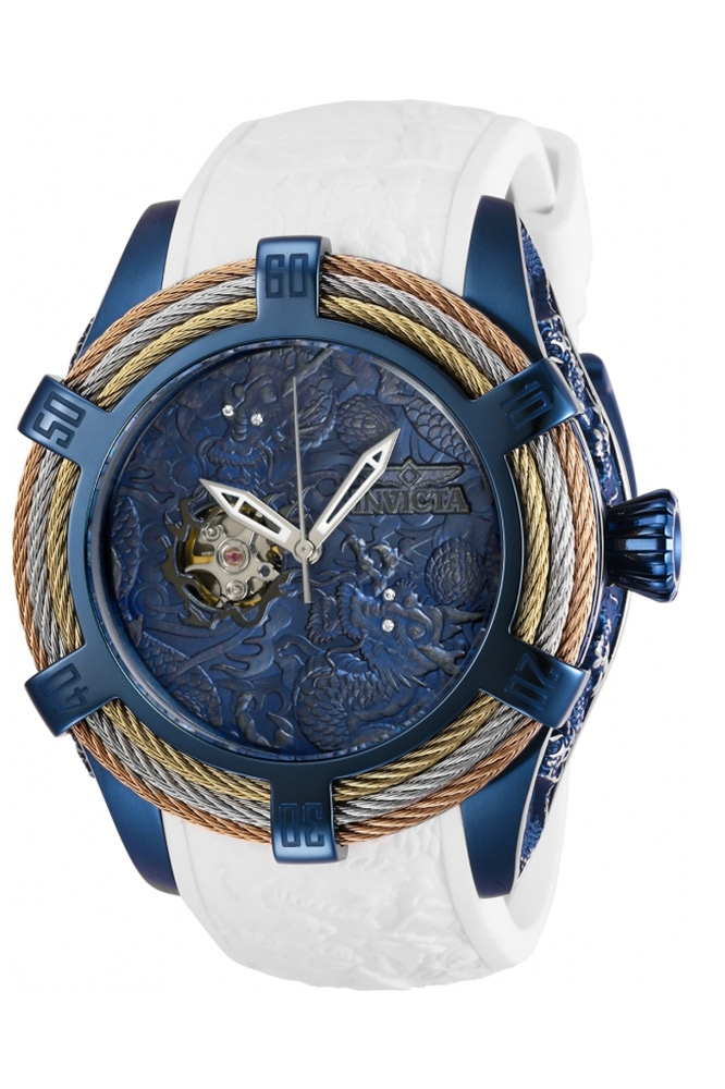 Invicta Bolt Mens Automatic 53.8 mm Gold, Stainless Steel, Rose Gold, Dark Blue Case Blue Dial - Model 27874