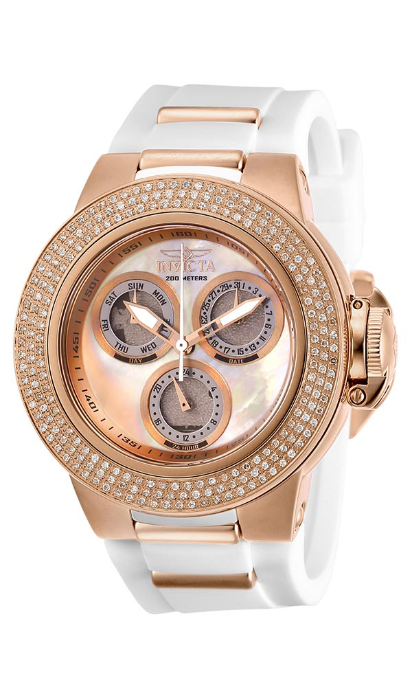 Invicta Subaqua Womens Diamond Quartz 42 mm Rose Gold Case White, Rose Gold Dial - Model 28378