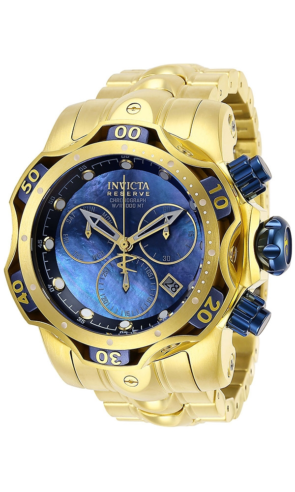 Vintage Watches For Sale >> Invicta Reserve Venom Mens Quartz 52.5 mm Gold, Blue Case ...