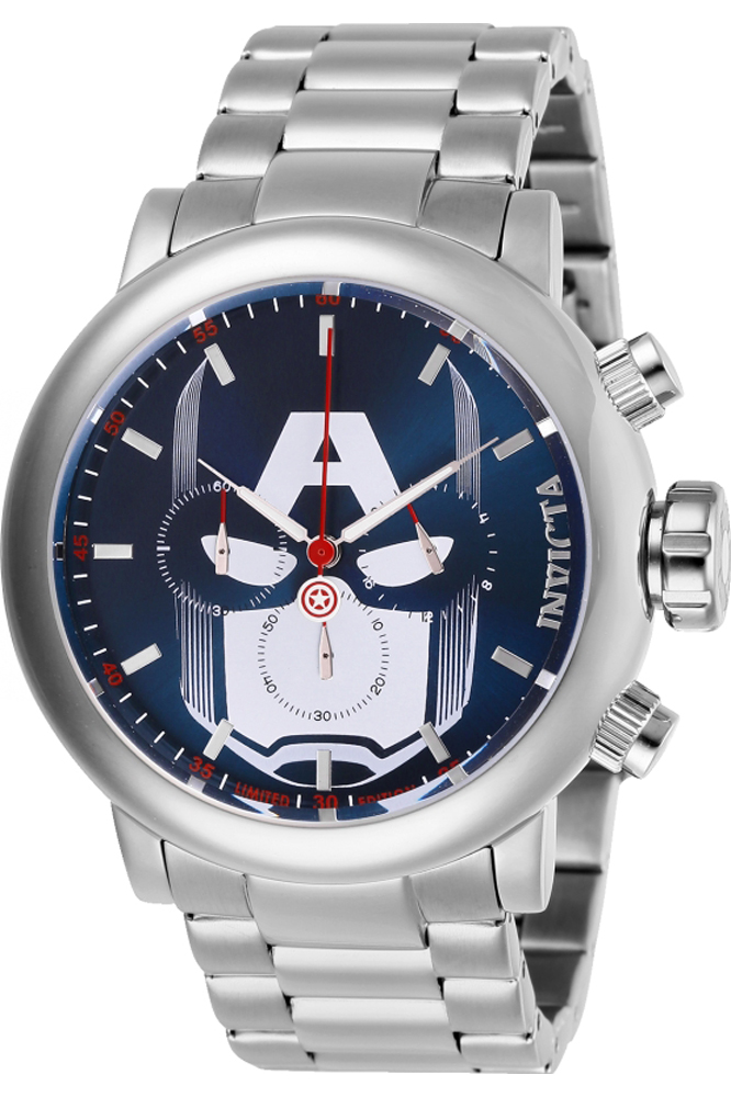 Invicta Marvel Limited Edition Captain America Mens Quartz 48 mm Stainless Steel Case Blue, White, Red Dial - Model 28424