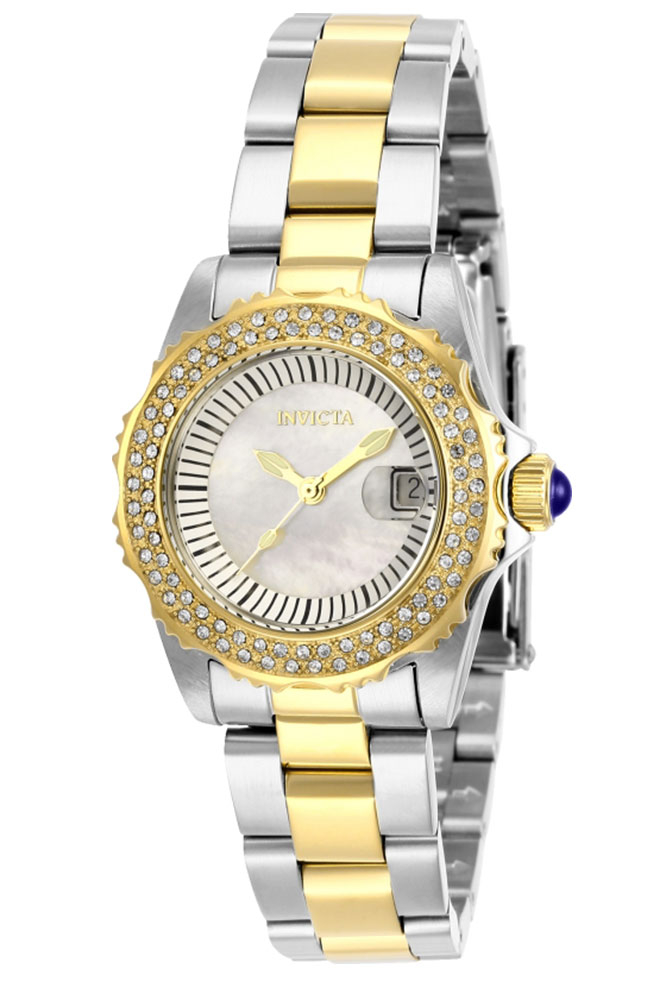 Invicta Angel Womens Quartz 30mm Stainless Steel, Gold Case White Dial - Model 28443