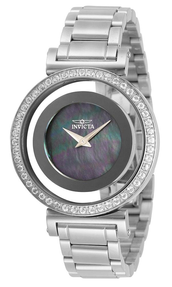 Invicta Angel Womens Quartz 38 mm Stainless Steel Case Black Dial - Model 28495