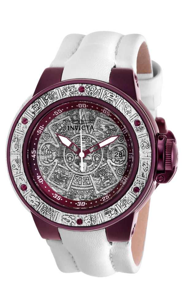 Invicta Subaqua Womens Quartz 42 mm Purple, Silver Wood Case Silver Wood, Purple Dial - Model 28544