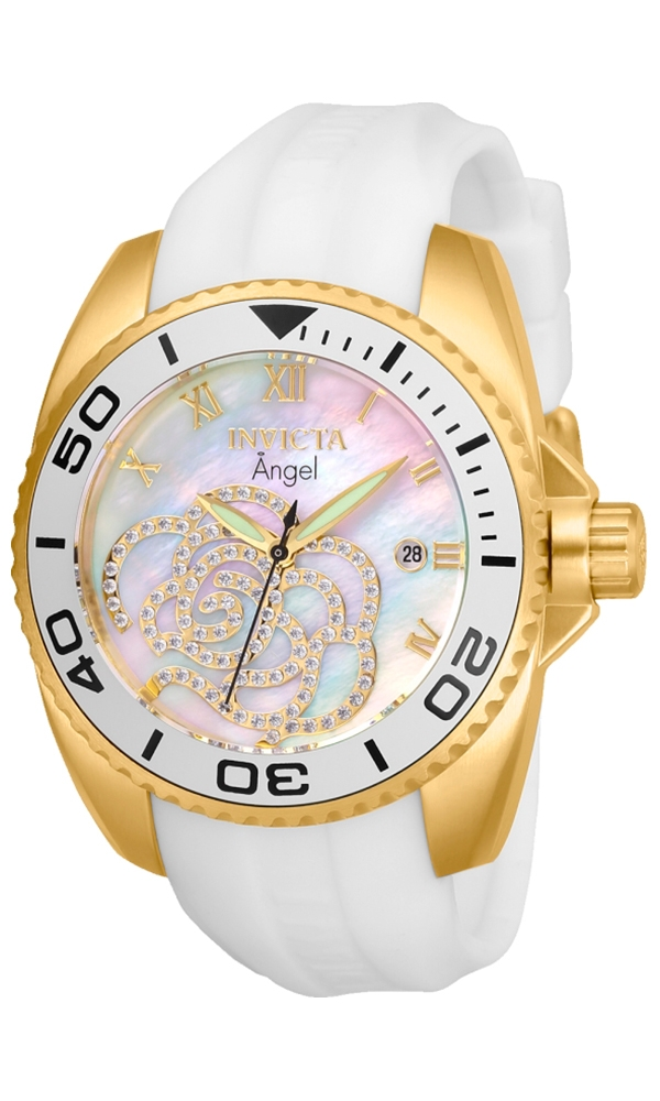 Invicta Angel Womens Quartz 38 mm Gold Case White Dial - Model 28677