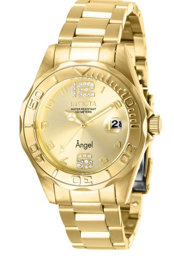Invicta Angel Womens Quartz 38 mm Gold Case Gold Dial - Model 28680