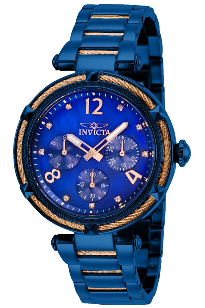 Invicta Bolt Womens Quartz 38 mm Blue, Rose Gold Case Blue Dial - Model 29137