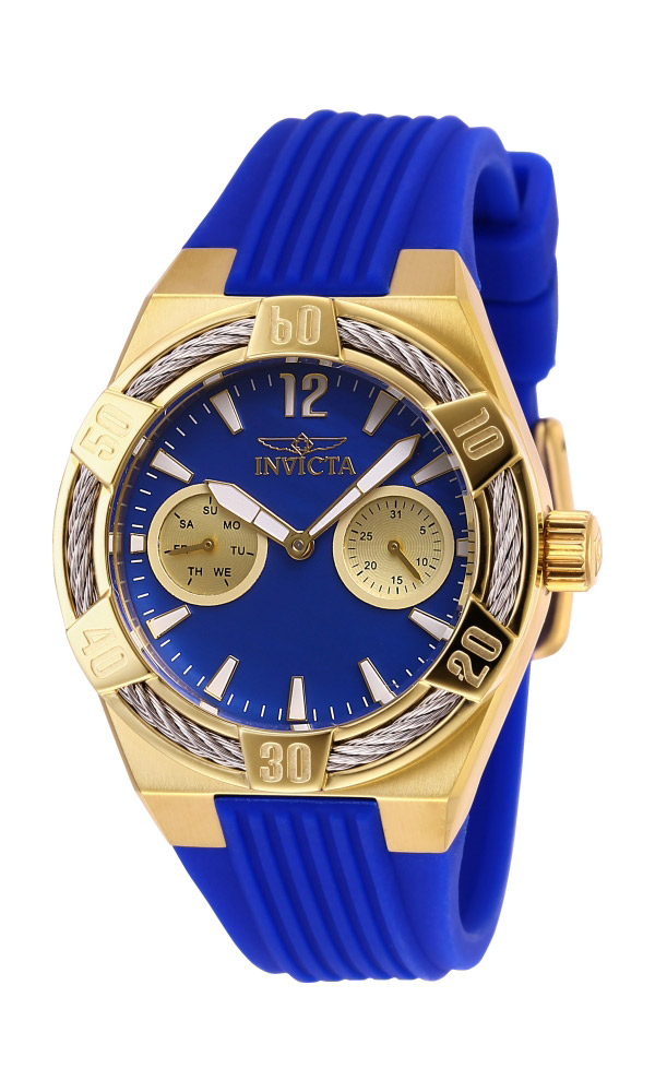 Invicta Bolt Womens Quartz 36 mm Gold, Stainless Steel Case Blue Dial - Model 29196