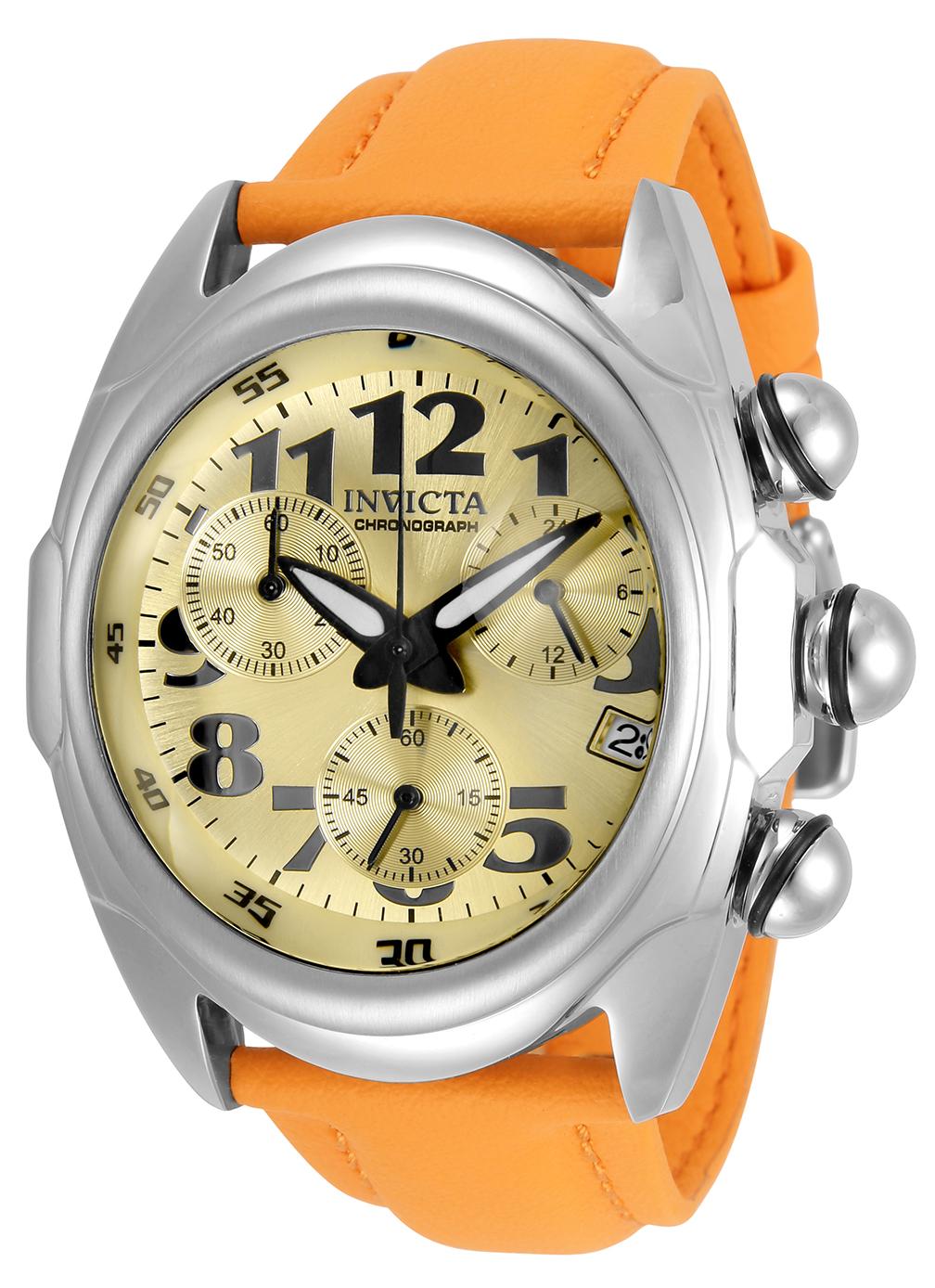 Invicta Lupah Quartz Mens Watch - 46mm Stainless Steel Case, Polyurethane Band, Orange (31403)