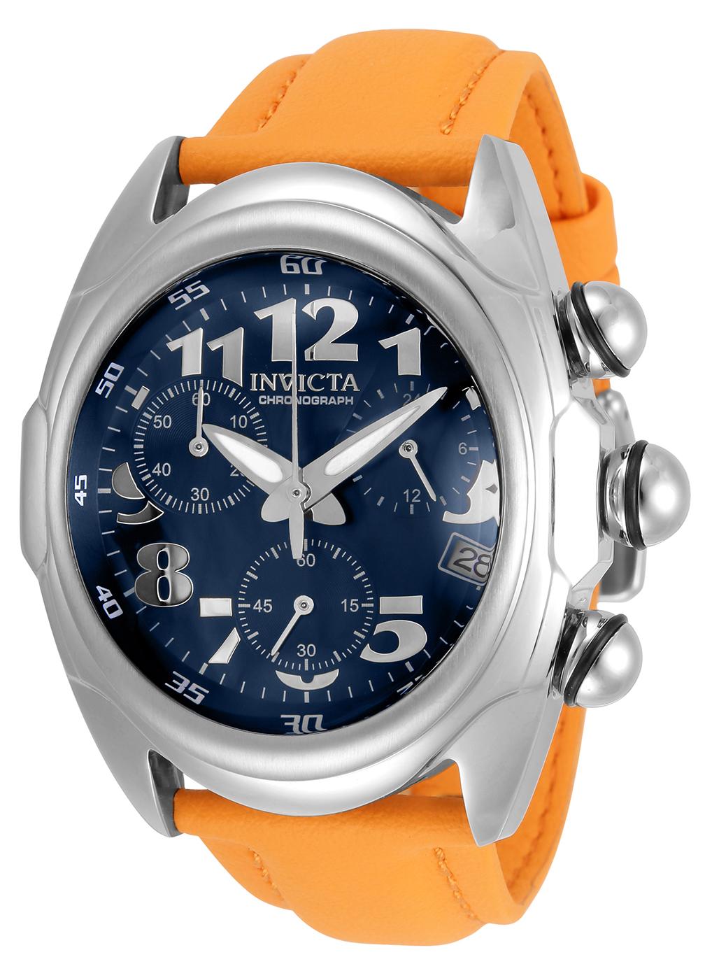 Invicta Lupah Quartz Mens Watch - 46mm Stainless Steel Case, Polyurethane Band, Orange (31406)