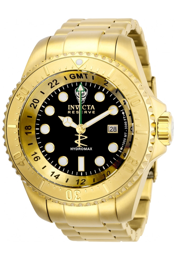 Invicta Reserve Hydromax Quartz 52 mm Gold Case Black Dial - Model 29728