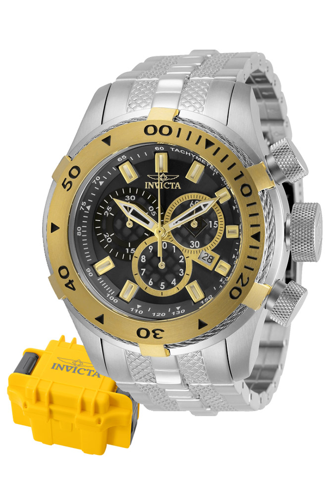 Invicta Bolt Mens Quartz 50 mm Stainless Steel, Gold Case Black Dial - Model 29743
