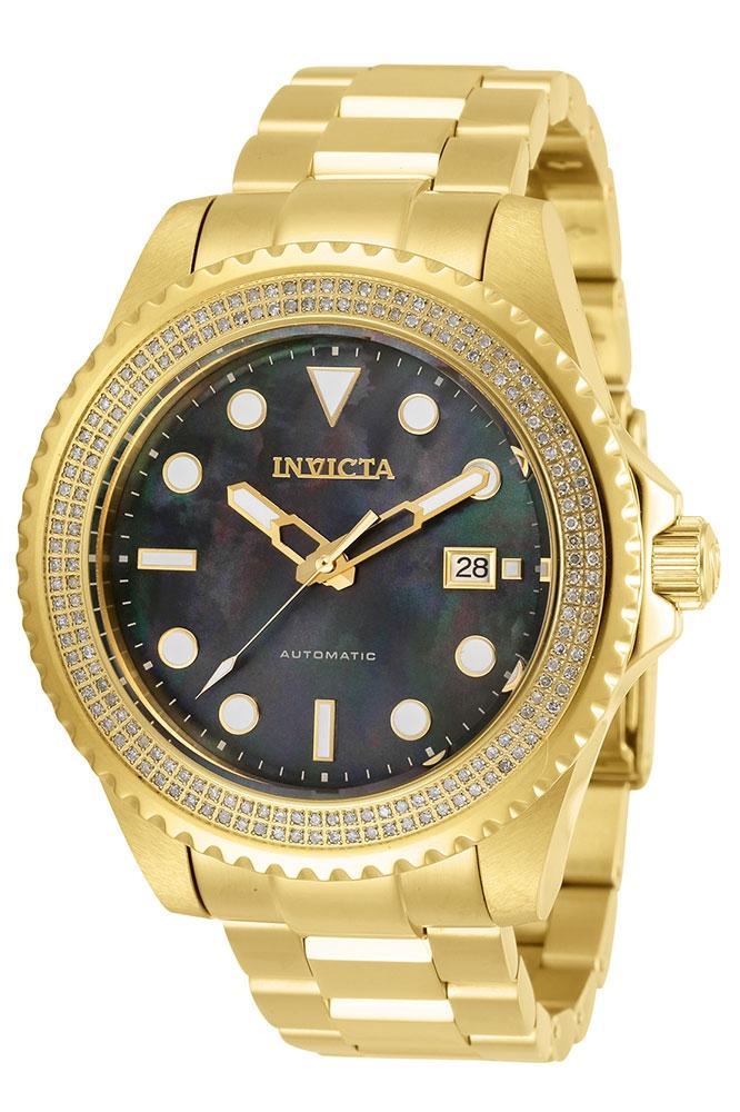 Invicta Pro Diver Mens Diamond Automatic 47 mm Gold Case Black Dial - Model 30329