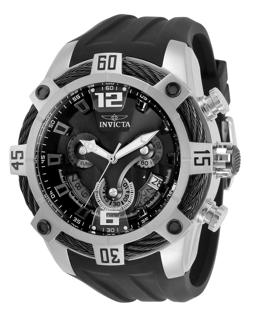 Invicta Bolt Quartz Mens Watch - 51mm Stainless Steel Case, Polyurethane Band, Black (33288)