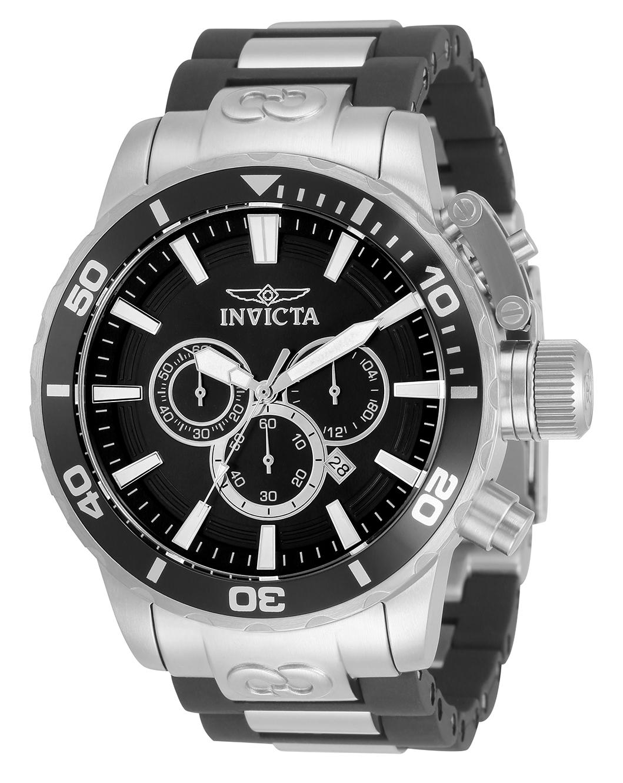 Invicta Corduba Quartz Mens Watch - 52mm Stainless Steel Case, Stainless Steel/Polyurethane Band, Black, Steel (33654)