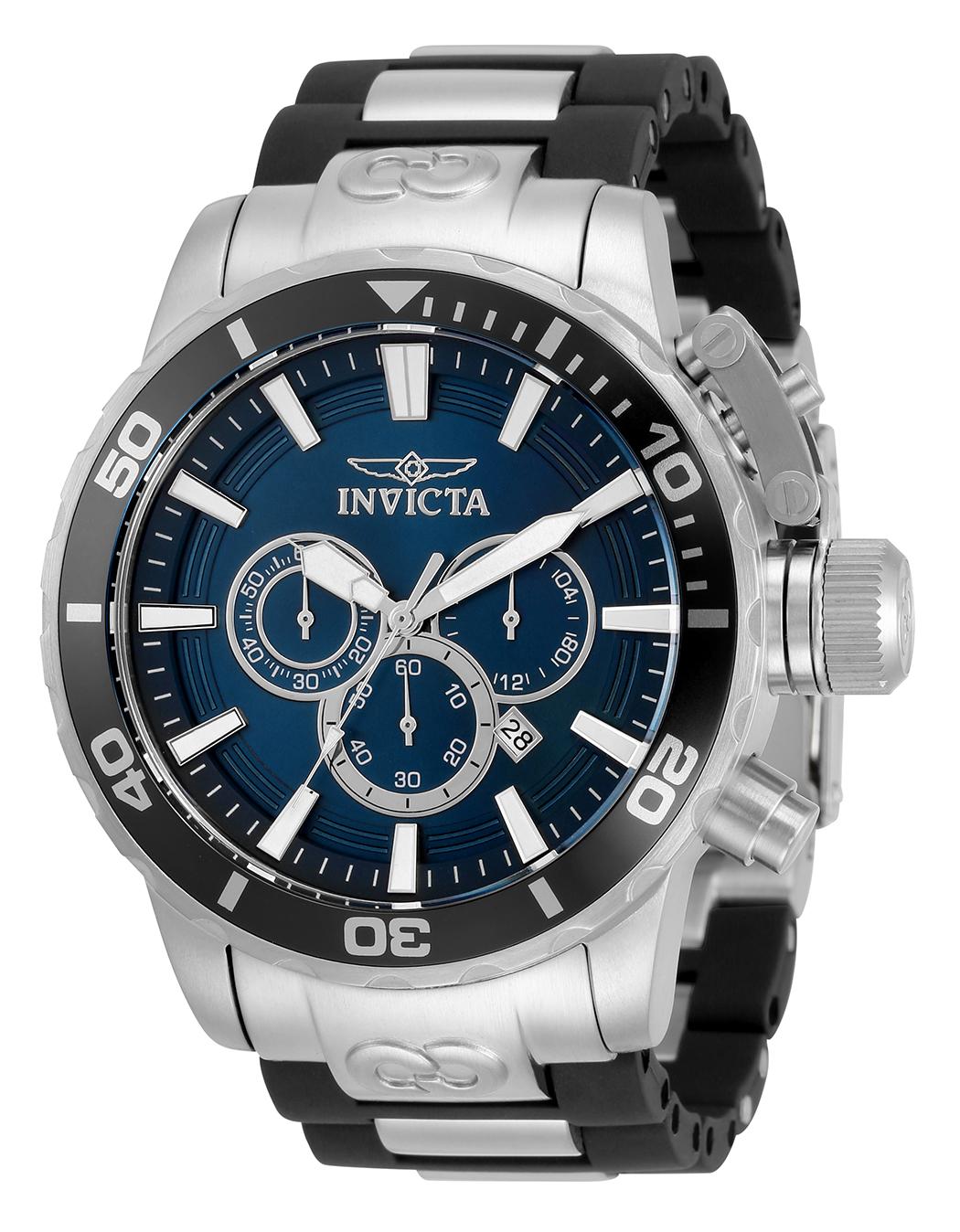 Invicta Corduba Quartz Mens Watch - 52mm Stainless Steel Case, Stainless Steel/Polyurethane Band, Black, Steel (33691)