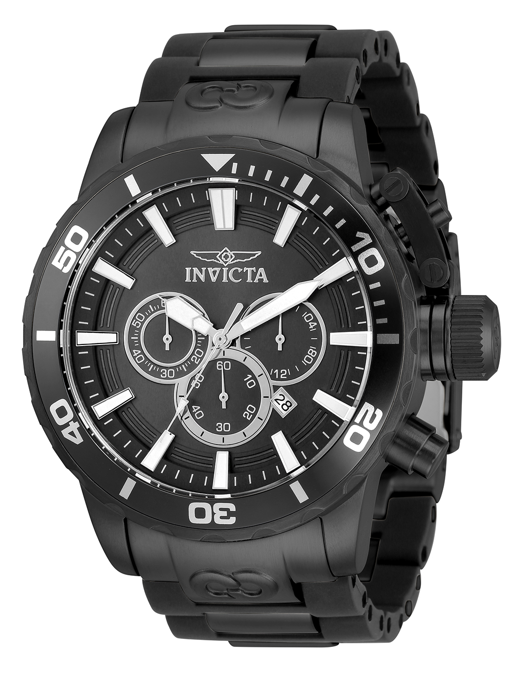 Invicta Corduba Quartz Mens Watch - 52mm Stainless Steel Case, Stainless Steel/Polyurethane Band, Black, Gunmetal (33697)
