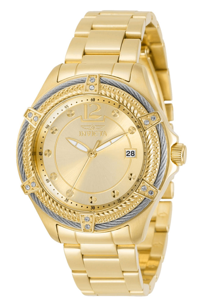 Invicta Bolt Diamond Womens Quartz 38mm Gold Case Gold Dial - Model 30880