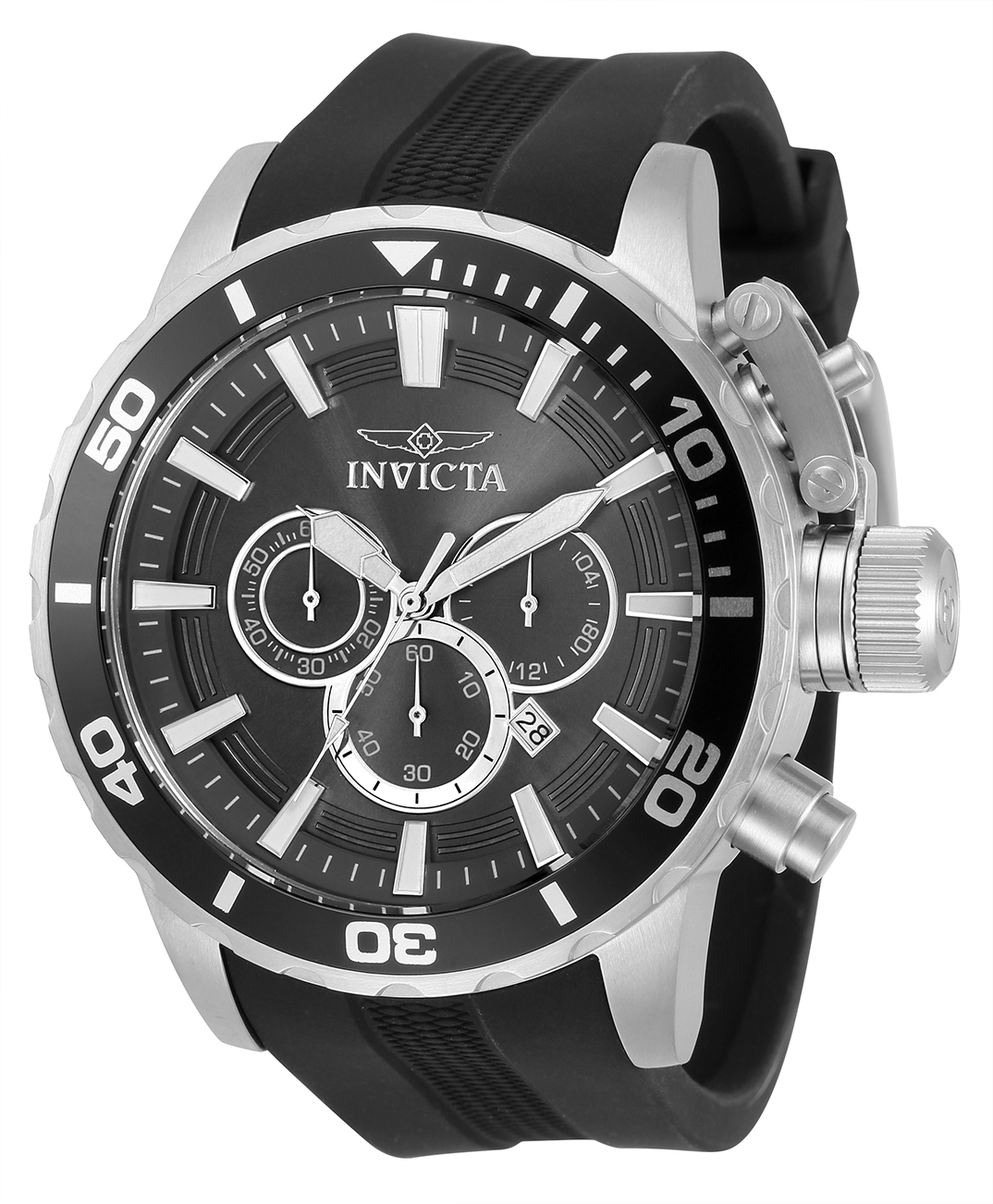 Invicta Corduba Quartz Mens Watch - 52mm Stainless Steel Case, SS/Polyurethane Band, Black (33698)