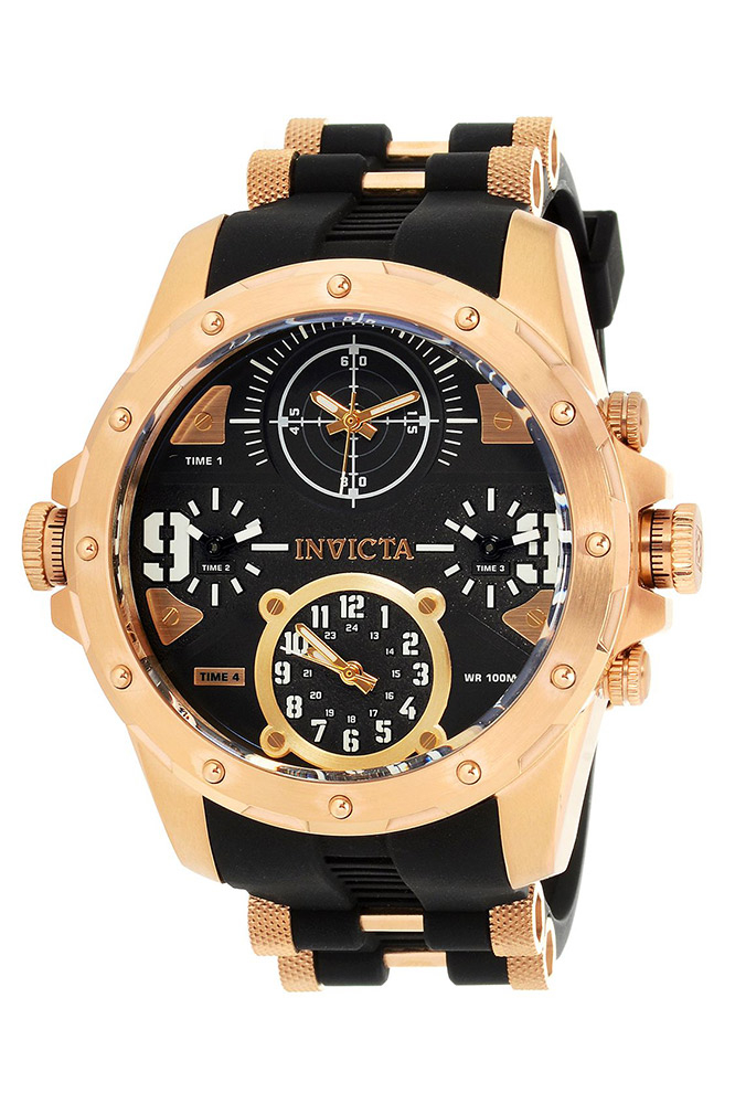 Invicta Coalition Forces Mens Quartz 50mm Stainless Steel Case, Black Dial - Model 31142