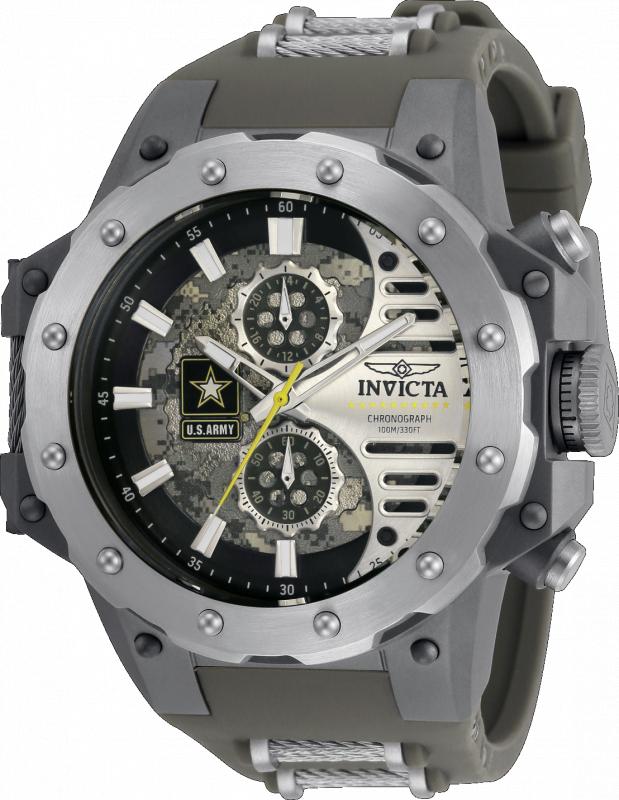 Invicta U.S. Army Quartz Mens Watch - 50mm Titanium Case, Silicone/Cable Band, Gunmetal, Steel (32982)