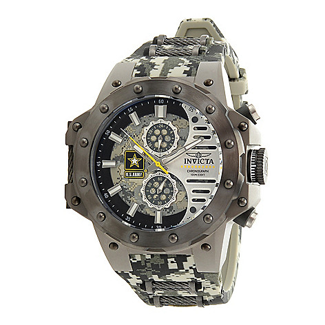 Invicta U.S. Army Quartz Mens Watch - 50mm Titanium Case, Silicone/Cable Band, Camouflage, Gunmetal (32983)