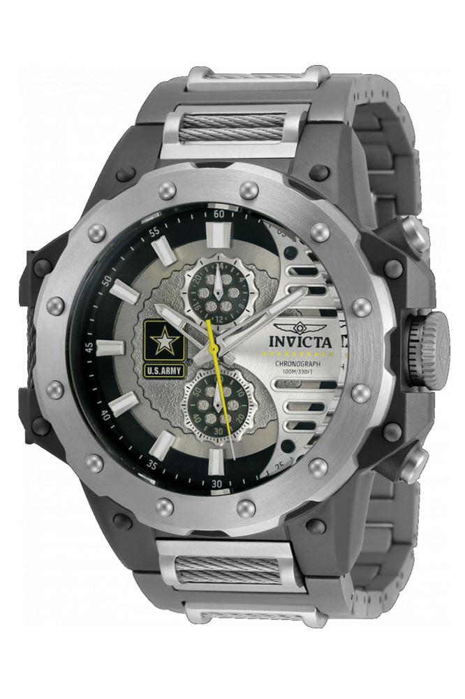 Invicta U.S. Army Quartz Mens Watch - 50mm Titanium Case, Titanium/Cable Band, Steel, Gunmetal (32986)