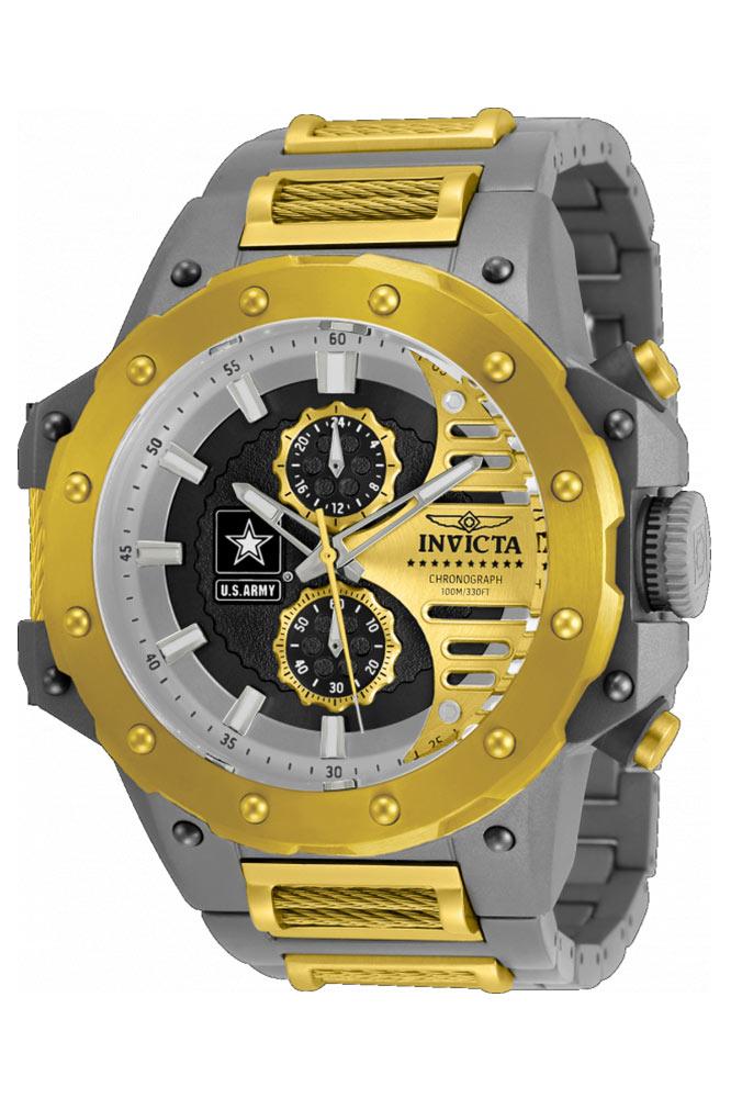 Invicta U.S. Army Quartz Mens Watch - 50mm Titanium Case, Titanium/Cable Band, Steel, Gold (32988)