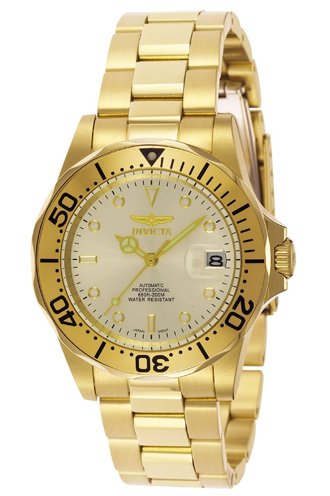 Invicta Pro Diver Automatic Watch - Gold case with Gold tone Stainless Steel band - Model 9618