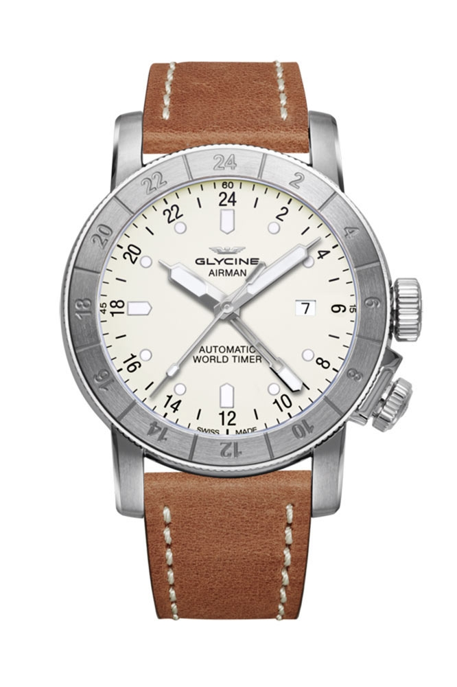 Glycine Airman Mens Automatic 44mm Stainless Steel Case Silver Dial - Model GL0055