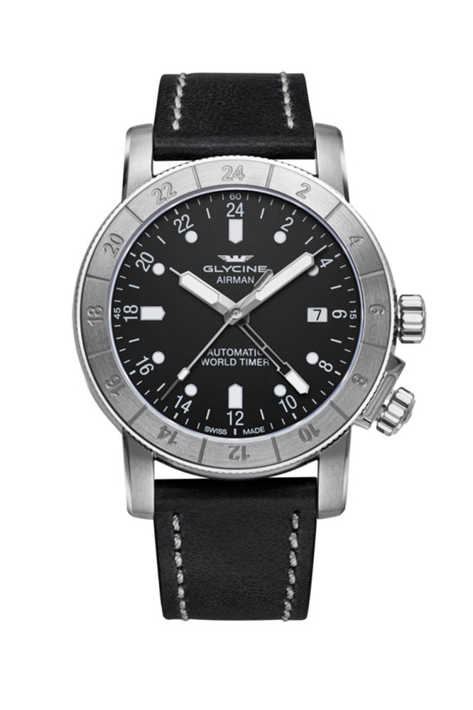 Glycine Airman Mens Automatic 42mm Stainless Steel Case Black Dial - Model GL0066