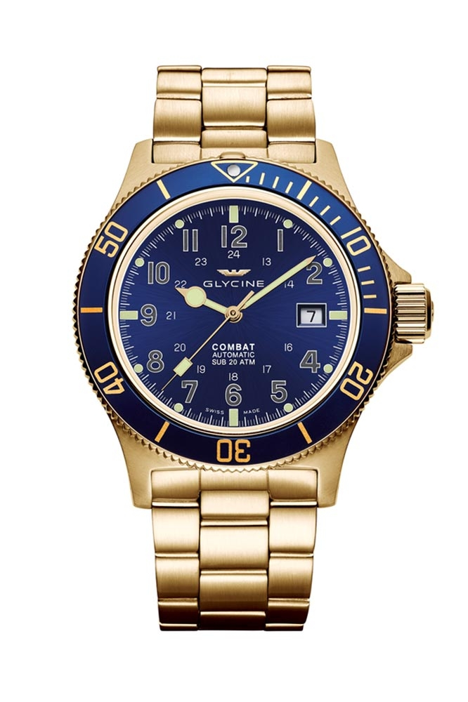 Glycine Combat Mens Automatic 42mm Yellow Case Blue Dial - Model GL0082