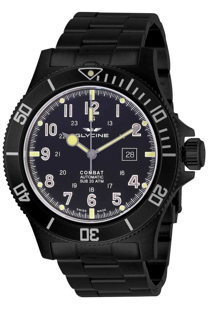 Glycine Combat Mens Automatic 48mm Black Case Black Dial - Model GL0096