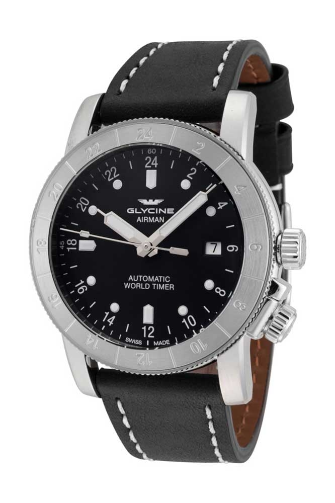 Glycine Airman Mens Automatic 42 mm Stainless Steel Case Black Dial - Model GL0140